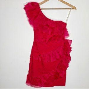 Marchesa Notte • silk ruffle one shoulder dress